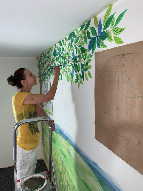 Bunte Kinderzimmer Wandmalerei!