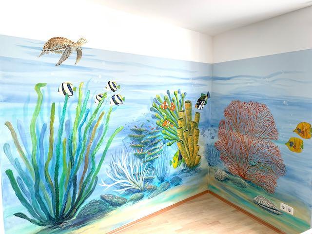 Unterwasserwelt an der Wand