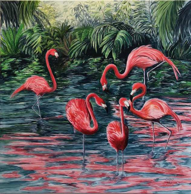 Flamingos im Dschungel