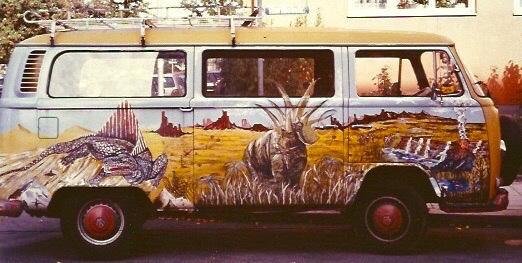 Bus als Leinwand