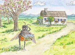 Wildbiene mit Postkarte
